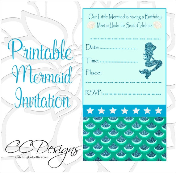 Exceptional image intended for mermaid birthday invitations free printable