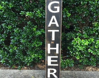 Gather Sign, Fixer Upper Signs,41x7.25 framed, Rustic Wood Signs, Farmhouse Signs, Wall Décor