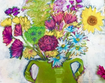 Wild Flowers in Lime Pottery Vase