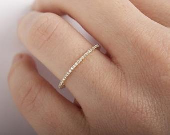 Pave diamond band | Etsy