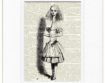 Alice in Wonderland and the telescope print