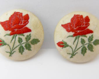Vintage Embroidered Silk Red Rose Flower Button Buttons x 2