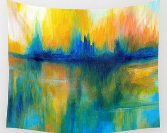 Wall Tapestry Wall Hanging Sofa Throw Abstract 14 blue green orange turquoise Home Decor art painting L.Dumas