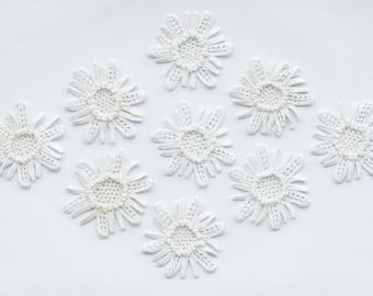 Wedding crochet flowers, wedding appliqué, crocheted appliqué, craft supplies, sewing accessories