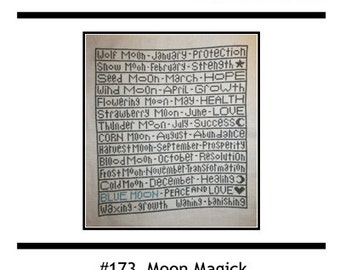 PDF E pattern emailed Wiccan Moon Magick Sampler Wicca Cross Stitch Pattern Sampler 173