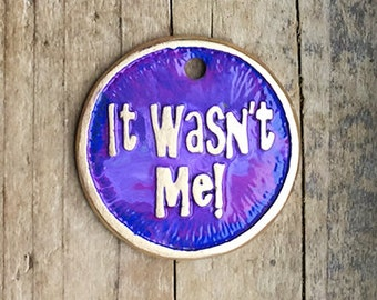 Dog Tag , Pet ID Tag , Cat Tag , Colorful Dog Tag , Colorful Dog Tag - It Wasn't Me or Your Text