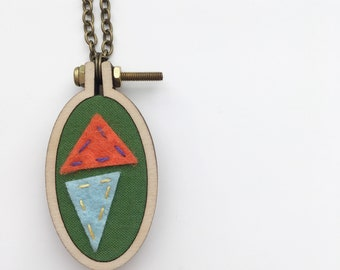SALE - Green Geometric Embroidery Hoop Necklace