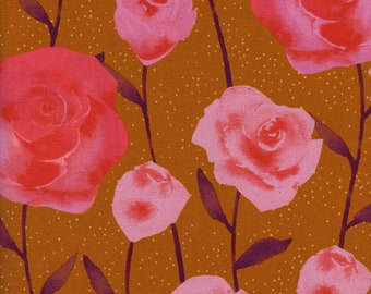 Roses Caramel - Firelight - Sarah Watts - Cotton and Steel Fabrics - Fabric by the Half Yard