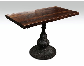Pine bistro table with ornamental pedestal base