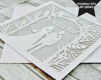 Personalised Wedding Card, Mr And Mrs, Wedding Card, Congratulations On Your Wedding Day, Wedding Card Lasercut, Wedding Day Card, Wedding