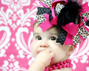 Leopard Over the Top Hair Bow - Leopard Pink Bow - Fall Hair Bow - Back to School Bow - Baby Bow - Toddler Bow - Girls Hair Bow - 6 Inch Bow