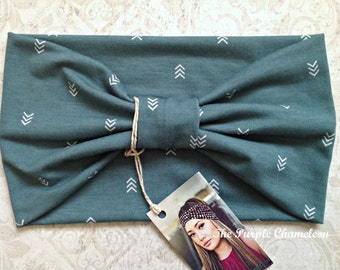 Green Arrow Turban WRAPsody Head Wrap Headband Knit Headwrap Chevron Turban Headcover Yoga Headband Chemo Cover Gifts for Her