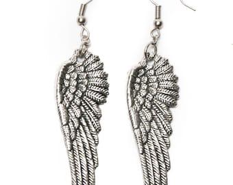 Large Angel Wing Dangle Earrings
