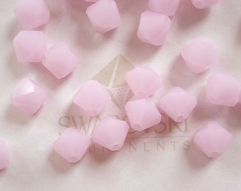 20 Rose Alabaster Swarovski Crystals Bicone 5301 6mm