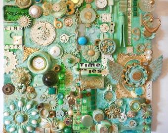 MIXED MEDIA, Canvas Steampunk, Steampunk Wall Art, Time Steampunk, Clock Art, Clock Collage, Time Art, Found Object Art, Office Wall Art
