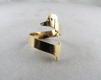 dog ring dachshund ring adjustable ring dachshund jewelry sausage dog cute dog doxie
