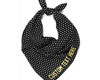 CUSTOM TEXT Black and White Polka Dot Neck Scarf- Customize Your Own Scarf- Neck Tie Scarf with Personalize Text- Retro Dot Scarves
