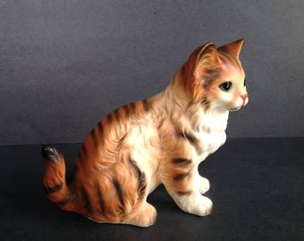 Vintage Cat Figurine Orange Tabby Porcelain Lefton H6364