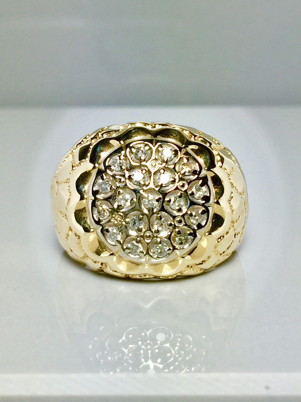 10k gold Men nugget ring Man ring gold Big Men Ring