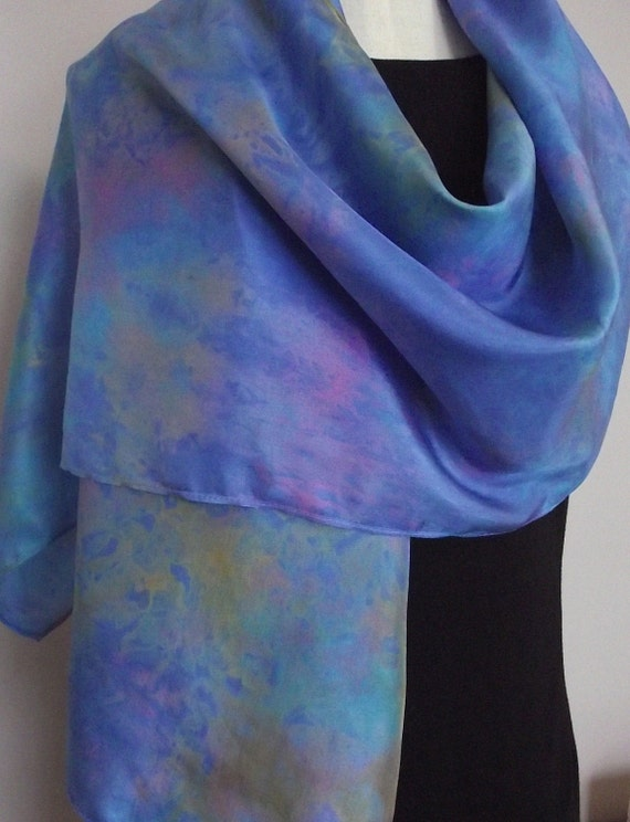"""Hand Dyed Shibori Silk Scarf, Rainbow Colours with Bright Blue Background - Straight or Infinity Loop Scarf 14x72"""""""