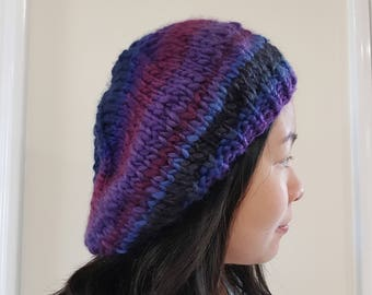 READY TO SHIP-Knit Beret | Slouchy hat | winter beanie | Blue | Purple | Burgundy | Chunky Beret