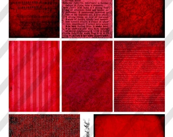 "Digital Collage Sheet, Vintage Red Background Images, ATC Size Backgrounds, 2.5 x 3.5"" (Sheet no. O249) Instant Download"