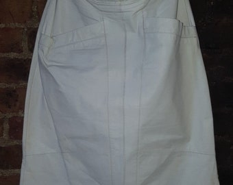 Ladies UK 14 Vintage 1980's Faux Leather Leatherette Cream Pencil Wiggle Skirt