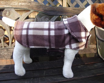 Dog Jacket-Brown Tan and White Plaid Fleece Coat- Size Small-12-14 Inch Back Length
