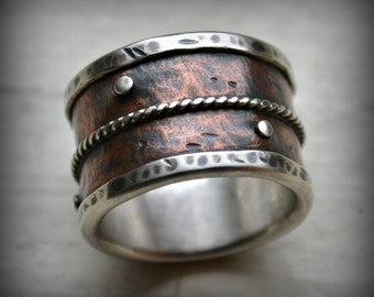 mens wide band wedding ring - rustic fine silver and copper ring with silver rivets - oxidized ring - handmade wedding band - customized