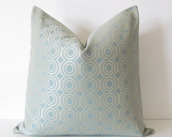 Candice Olson light blue gray gold circles designer throw pillow cover