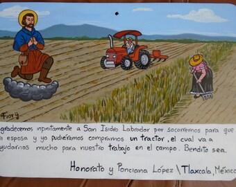 Ex-vote exvotee Contemporary altarpiece peasants Buy your tractor