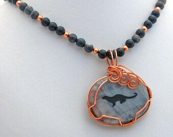 Otter Spirit Animal Picasso Jasper Onyx Natural Stone Necklace
