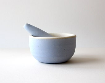 Ceramic mortar and pestle kitchen tool / periwinkle blue / made to order
