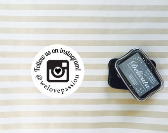 Rubber Stamp or Self Inking Stamp Instagram Follow us Business Packaging - Camera Instagram Hashtag or Handle Account