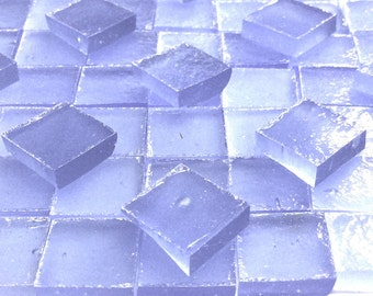 PERIWINKLE BLUE STIPPLE Translucent Stained Glass Mosaic Mini Tile A38