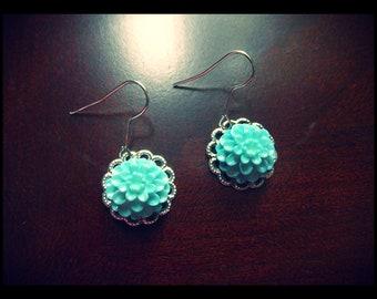 Silver w/Turquoise Flower Earrings