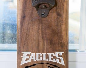 NFL Inspired Wall Mount Bottle Opener Philadelphia Eagles, Buffalo Bills, New England Patriots Mancave Garage Groomsmen Anniversary Birthday