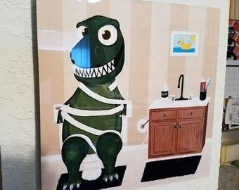Aluminum, TP Trex, Dinosaur painting, T-Rex with technical difficulties in the bathroom, Kids bathroom, bathroom painting