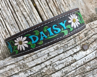 Leather dog collars with name and phone number