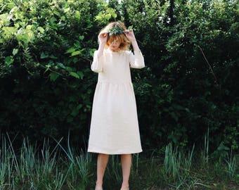 Linen Dress - Ivory Linen Dress - 3/4 Sleeve Dress - Loose Fit Dress - High Waist Dress - Ivory Linen Dress - Handmade by OFFON