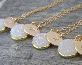 Maid of honor gift Druzy necklace  Personalized bridesmaid necklace Mother of bride jewelry Bridesmaid jewelry bridesmaid gift druzy jewelry