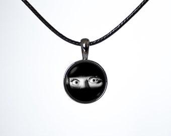 Wife gift Chokers Leather choker Women choker Choker necklace Black choker Black cord Funny choker Grunge choker Choker pendant Eyes 90s