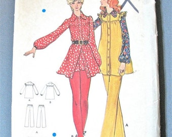 Spring Sale Butterick 6389 70s Loose-fitting smock dress,self sleeve ruffles Straight-legged pants Vintage Sewing Pattern  Bust 32