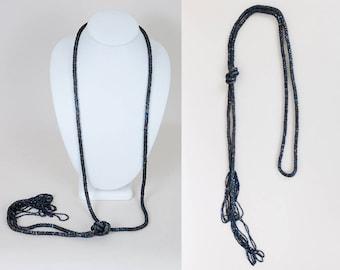 Vintage 20s Necklace / Art Deco 1920s Dark Blue Iridescent Carnival Glass Sautoir Necklace