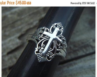 ON SALE Beautiful handmade sterling silver cross ring