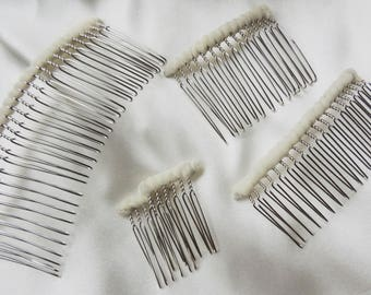 Diy fascinator etsy wedding veil comb diy twisted wire metal comb silver tone tulle wrapped ready to make a solutioingenieria Images