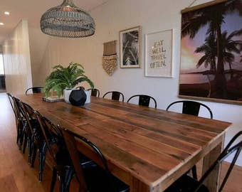 Large 3 Metre Dining Table Setting And Optional Bench Seats / Rustic /  Recycled/ Reclaimed