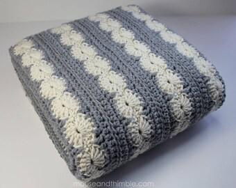Oyster Bay Afghan Blanket / Crochet PATTERN (2 color / 5 sizes) / PDF 3652