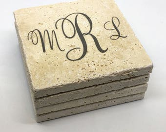 Monogrammed Coasters Customized Natural Stone Coaster Set of 4 with Full Cork Bottom Personalized Gift with Initials
