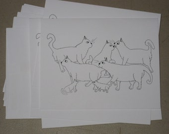 warrior cats card by emily burke set of 5 with envelopes.